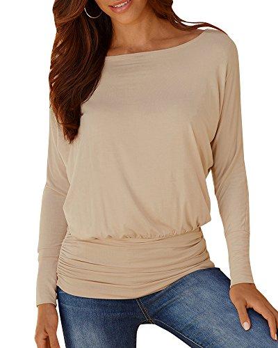 Donna Grandi Dimensioni Blusa Manica Lunga Colore Solido Elegante T-Shirt Sciolto Camicia Camicetta Tops Casual Cachi