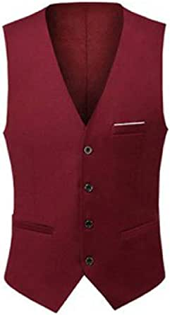 GRMO Men Slim V Neck Single Breasted Sleeveless Suit Vests Waistcoat