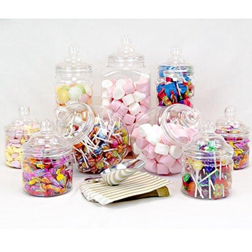9Jar Jumbo Vintage Viktorianischer Pick & Mix Buffet Kit + Schaufel + 50x Gold Staubbeutel - Süßigkeiten Candy Jar
