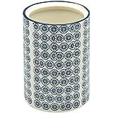 Pot à ustensiles de cuisine orné de motifs - en porcelaine - imprimé fleur bleue
