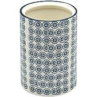 Bote de porcelana para utensilios de la cocina - diseño floral en azul