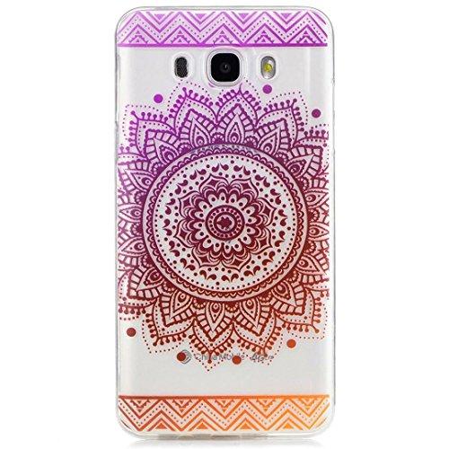 KSHOP TPU Silikon Hülle für Samsung Galaxy J7(2016)J710 Handyhülle Schale Etui Protective Case Cover dünn mit Drucken Muster - indisches Heilige Blume Mandala Weiß