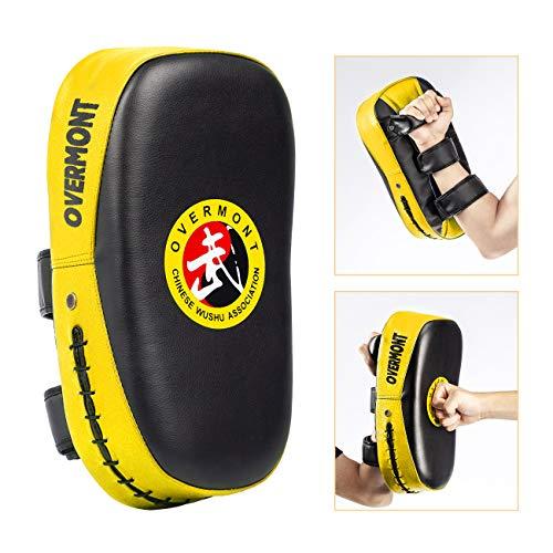Overmont Schlagpolster Schlagkissen Kickboxen Kampsport Kickschild Boxpratzen Trittkissen für Thaiboxen Karate UFC MMA Rot/Blau/Gelb 35 * 18,5 * 11cm