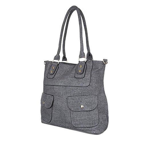 Damen Tasche, Schultertasche, Mittelgroße Handtasche, Kunstleder, TA-C55 Grau