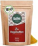 Hagebuttenpulver BIO (1kg) - Rosa Canina -Rohkostqualität - 100% Bio - aus ganzen Hagebutten gemahlen - Großpackung mit Preisvorteil - Gemahlen, abgefüllt und kontrolliert in Deutschland (DE-ÖKO-005)