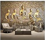 Peinture murale sur papier peint 3D murale 3D en relief de statue de Bouddha doré @ 350 * 245cm