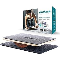 """plankpad - Entrenador físico de cuerpo completo con aplicación de entrenamiento para iOS y Android - Tabla de equilibrio innovadora del programa de televisión """"Shark Tank"""" en negro / nogal"""