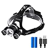 LED Headlamp Adjustable XM-L 3T6 Zoomable Headlight Waterproof Flashlight Focus Torch for Indoor and Outdoor Sports with Batteries and Charging Cable Included