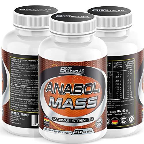 Anabol Mass Nitric Oxide Supplement - Premium Muskelaufbau Nitric Oxide Booster mit A-AKG und A-KIC, Arginin, Citrullin, Koffein 90 Kapseln Monatspackung