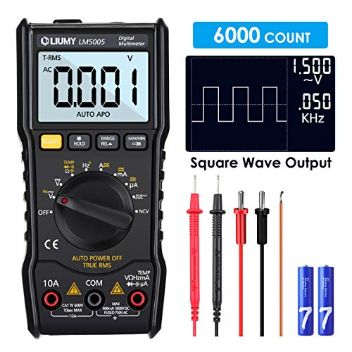 Digital Multimeter, LIUMY LM5005 6000 Counts Auto Range Multimeter mit True RMS,AC/DC Voltage Current Detector, Temperaturmessung, Hintergrundbeleuchtung und Resistance, Capacitance, Duty Cycle Tester -