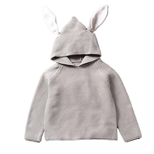 Etbotu regali per bambini,il vestito da bambino,camicetta in maglia per bambini in maglione in cotone per bambina con orecchie da coniglio coniglietto