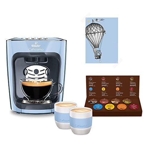 Tchibo Cafissimo mini inkl. Kaffee Kapselmaschine Starterset mit 8 Kapseln und 2 Kaffeebecher, Misty...