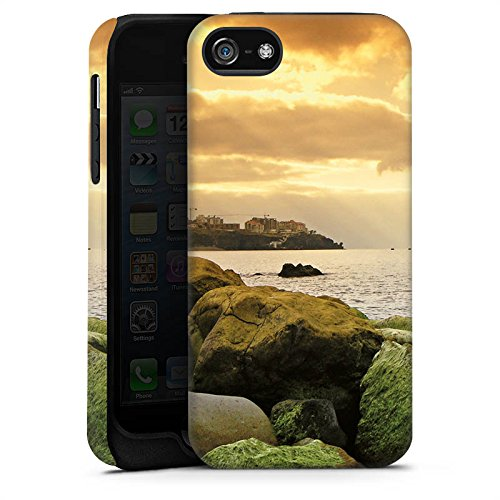 Apple iPhone 4 Housse Étui Silicone Coque Protection Côte Paysage Rocher Cas Tough terne