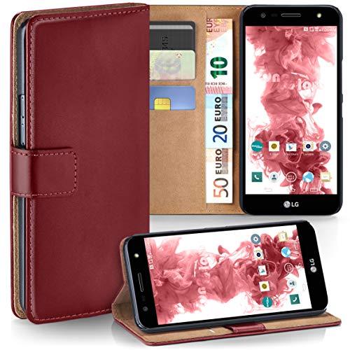 moex LG X Power 2 | Hülle Dunkel-Rot mit Karten-Fach 360° Book Klapp-Hülle Handytasche Kunst-Leder Handyhülle für LG X Power 2 Case Flip Cover Schutzhülle Tasche
