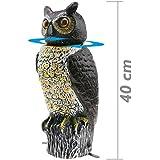 Cablematic - Ahuyentador de aves tipo estatua búho con ojos reflectantes 40cm