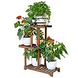 ZHANWEI Gartenregal Blumenregal Korrosionsschutzholz Multi-Tier Innen- Balkon Bodenständig Gestell Karbonisierte Farbe (größe : 56x25x77cm)
