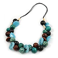 Avalaya Chunky Cluster Wood, Resin Bead Black Cotton Cord Necklace (Light Blue, Teal, Brown, Black) - 72cm L/ 185g
