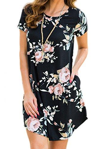 Frauen Elegant Kurze Ärmel Blumenmustern Swing - Party - Kleid Black