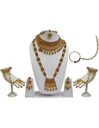 Lucky Jewellery Bridal Golden Color Alloy Gold Plated Wedding Jewellery Set For Girls & Women