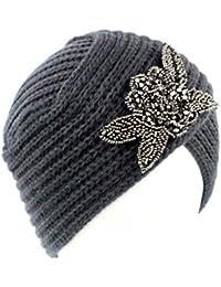 ff69ae22a115 Ssowun Bonnet Femme Rétro Chapeau Tricot Fleur Beanie Printemps Hiver  Chaude Chapeaux Turban Indien