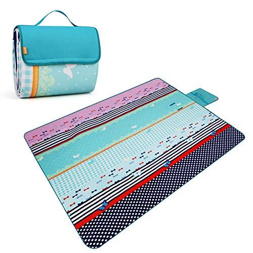 JTYX Picknickdecke mit Griff Polyester Baumwolle Ultraleicht Tragbare wasserdichte Outdoor Camping Feuchtigkeits Matten Strandmatten 200X150 cm