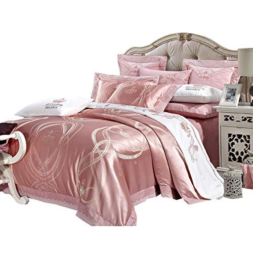 JYTT Komfort-räume Klassisch Bettwäsche Set, Nach unten tröster 10 stück Rosa Ganze Saison Königin Jacquard Faux Seide Schlafzimmer bettdecken-A King -