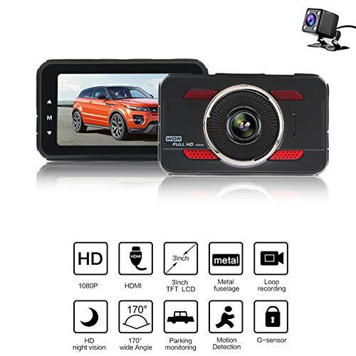 Dash Cam Auto Kamera 1080p Full HD 170 ° Weitwinkel-Overhead-Videogeräte,Doppelobjektiv vorne und hinten mit Infrarot-Nachtsicht, Parküberwachung, G-Sensor, Schleifenaufnahme, keine SD-Karte