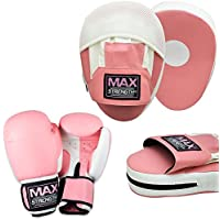 Max Strength Ladies Boxing Focus Pad Set Hook and Jab Punch Training Sparring Pink Boxing Gloves