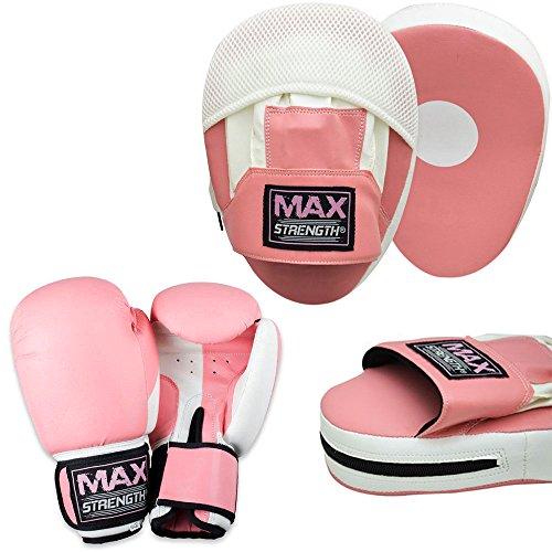 MAXSTRENGTH Damen-Herd mit Haken und Jab-Pink, Sparring, Boxhandschuhe, rosa/weiß, 283,5 g (10 oz)