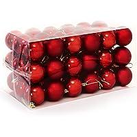 Deuba Weihnachtskugeln Rot | 54 Christbaumschmuck Aufhänger | Christbaumkugeln für den Weihnachtsbaum | Weihnachtsbaumschmuck