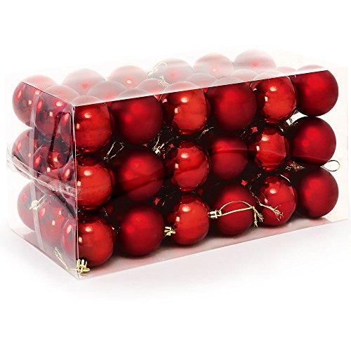 Weihnachtskugeln Weihnachtsbaumkugeln Set 54 Stück bis Ø 6 cm Rot Christbaumschmuck Weihnachtsdeko - 54 / 66 / 77 / 100 / 102 / 103 Set bis Ø 8cm Modellauswahl - mit Aufhänger
