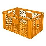 4x Eurobehälter durchbrochen / Stapelkorb, lebensmittelecht, Industriequalität, 600 x 400 x 320 mm, orange