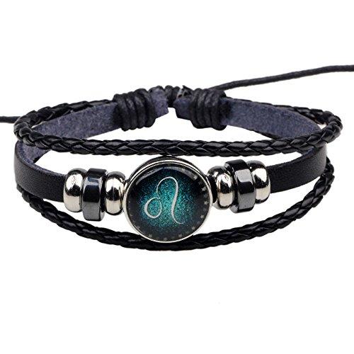 Kangqifen Schmuck Damen Herren Horoskop Armband,Leder Wolframstahl Wachs Seil Retro Armschmuck(Löwe)