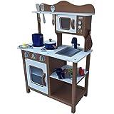 TikTakToo Kinderküche Spielküche BRAUN aus Holz Kinderspielküche Spielzeugküche mit Zubehör (braun)