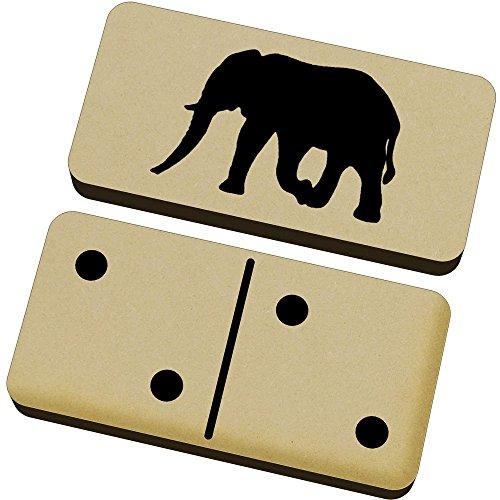 Azeeda 'Silueta del Elefante' Domino Juego y Caja (DM00017050)