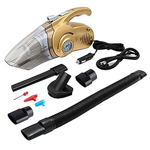 Auto Staubsauger mit LED-Licht 4in 1DC 12V 120W Wet und Dry Hand Auto vacuum-14.8Fuß Power Kordel, mit Reifen Manometer, Reifen, Luftpumpe, Flutlicht (Gold) (Utility-hand-pumpe)