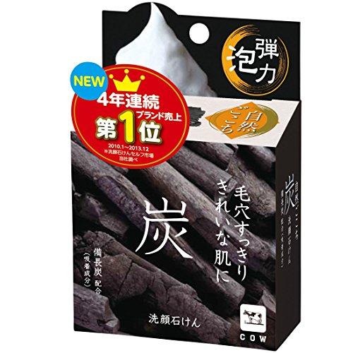 SHIZEN GOKOCHI Facial Cleansing Set: Charcoal Bar Soap with Nylon Foaming Net Bag - 80g (japan import)