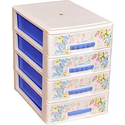 Nayasa Deluxe Plastic Tuckins, 4 Drawers, Blue