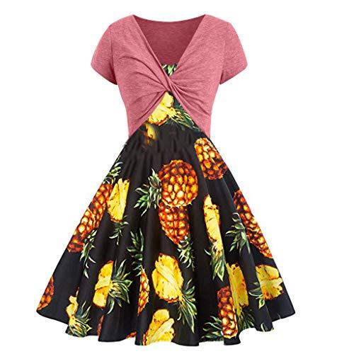 Fenverk Damen Kleiderset Zweiteilig Sommer Kurzarm Bluse Lose Patchwork Cut Out Tops T-Shirt Tunika Einfarbig Trachten-Kleid ()