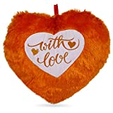 Aafreen Soft Stuffed With Love Message Printed Hanging Heart Shaped Brown Pillow Or Cushion