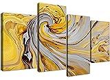 Cuadro abstracto en lienzo de 4 piezas, tamaño grande, color amarillo mostaza y gris en espiral,...
