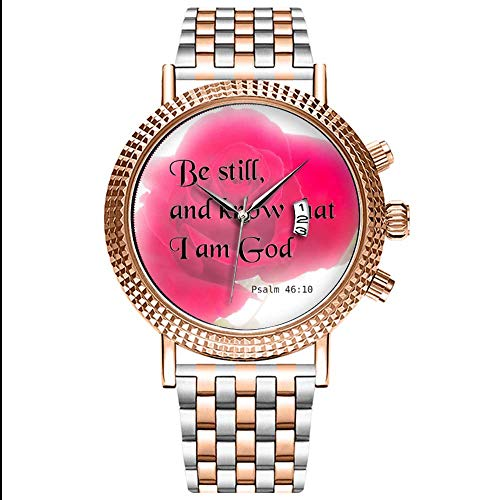 Mode Wasserdichte Herren-Armbanduhr Analog Quarz Edelstahl Mit Gold 472.Bibel Verse Psalm 46 10 Blumenwrist-Uhr (Geburtstag Verse Bibel)