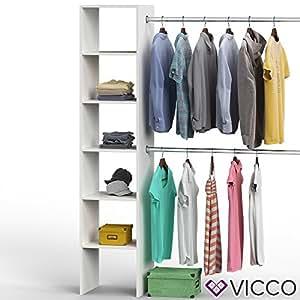 Vicco Kleiderschrank VISIT 190 x 140 cm Weiß Sonoma Eiche Dielenschrank Flurgarderobe- offen begehbar Kleiderständer Garderobe Diele Flur Nische Garderobenständer (Weiß)