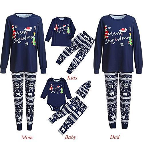 Riou Weihnachten Set Baby Schlaf Kleidung Pullover Pyjama Outfits Set Familie Frohe Weihnachts kostüme Santa Junge Mädchen Familien Pyjamas Set Cartoon Schlafanzug (L, Mom)