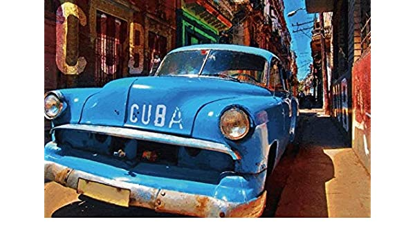 FS Cuba Blue Car in Gasse Metal Sign Domed 20 x 30 cm
