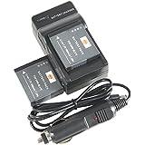 DSTE 2x DMW-BLH7 Battery + DC120 Travel and Car Charger Adapter for Panasonic Lumix DMC-GM1 GM1K GM5 GF7 GF7K Camera as DMW-BLH7E