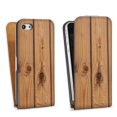 Apple iPhone 5s Housse Étui Protection Coque Look bois Planches Sol en bois Sac Downflip blanc
