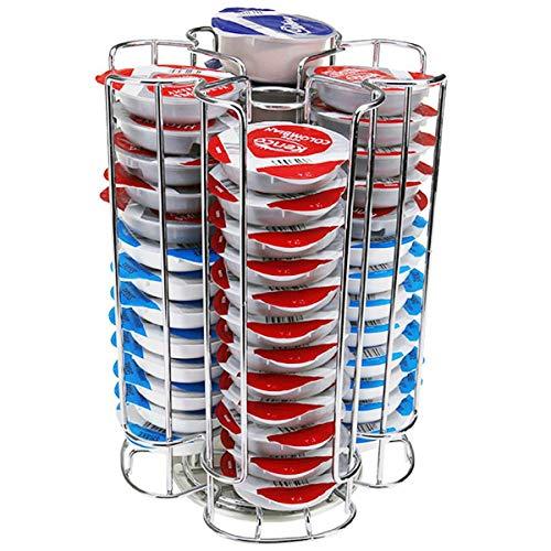 Color - 52 Pods de café T-DISC soporte para cápsulas de café de marca Bosch dispensador de Base giratoria de acero inoxidable de doble capa