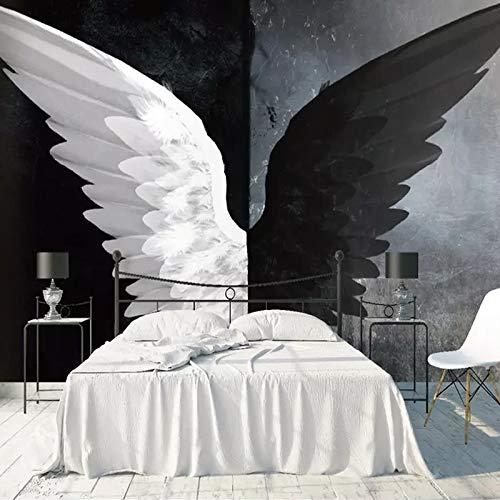 3D Wallpaper Foto Nordic Modern Creativo Negro Blanco Ángel Alas Arte Pintura Mural Sala de Estar Dormitorio Decoración del Hogar-280x200cm