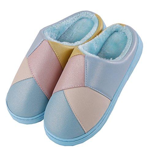 Piqûre coton pantoufles à domicile-hiver épais peluche Chaud Neige Bootie Chaussures Bleu
